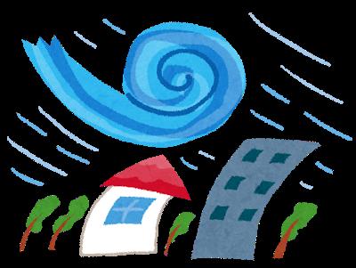 暴風雨で建物や木が揺れている、台風のイラスト